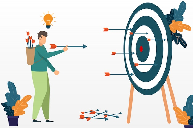 Successful businessman aiming target with bow and arrow. business success concept. target and opportunities.