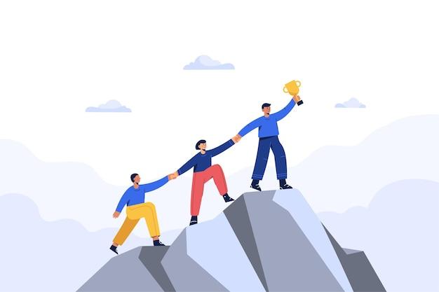 成功したビジネスマンと彼のチームは、新しいビジネスチャンスに行きます。ビジネスコンセプトフラットイラスト