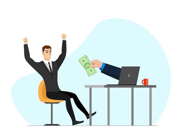 성공적인 사업가는 노트북 화면에서 돈을 받습니다. 온라인 소득 상거래 사업가와 종이 화폐를 들고 있습니다. 즐거운 사람은 수동적인 이익이나 이득을 얻습니다. 웹 도박 및 수입 개념입니다. 주당 순 이익