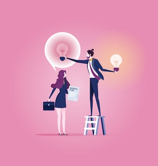 Successful businessman give another businesswoman new idea bulb