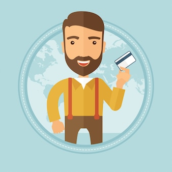 Successful businessman holding credit card.