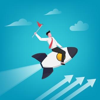 Успешный бизнесмен держит флаг на иллюстрации ракеты. деловой рост и карьера.