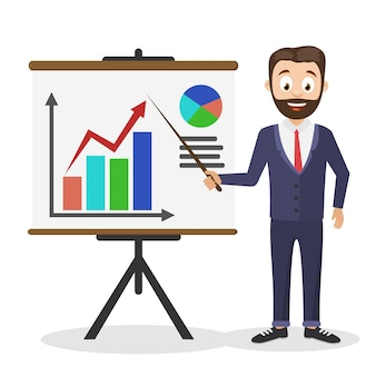 A successful businessman holds a pointer near the board with graphs on a white background.