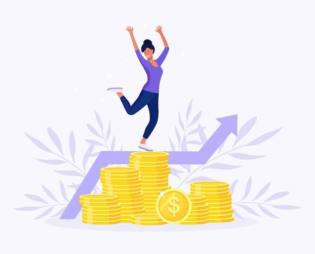 돈 더미 위에서 기쁨을 위해 점프하는 성공적인 사업가. 수익성 있는 투자, 자금 조달. 여자는 성공적인 거래를 축하합니다. 주식 시장 소득. 다이어그램, 그래프 성장