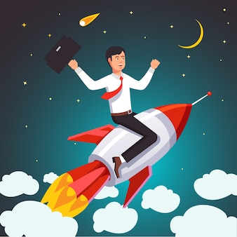 Successful businessman on a rocket