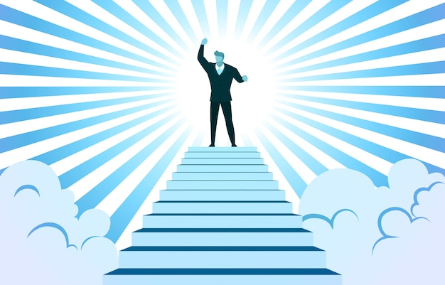 Successful businessman rise hand on top stairs cloud sunbeam
