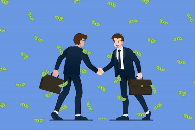 Успешный бизнесмен рукопожатие в деньгах дождь падение.