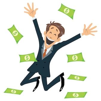 成功した実業家の笑顔とお金でジャンプ飛ぶベクトル漫画イラスト