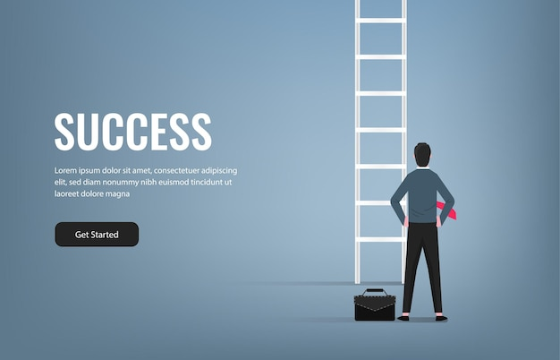 Successful businessman standing in front of ladder illustration. success in business and career symbol.