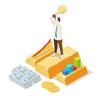 Successful businessman standing on gold ingot with trophy cup in raised hands, flat vector isometric illustration. business success, financial growth concept.