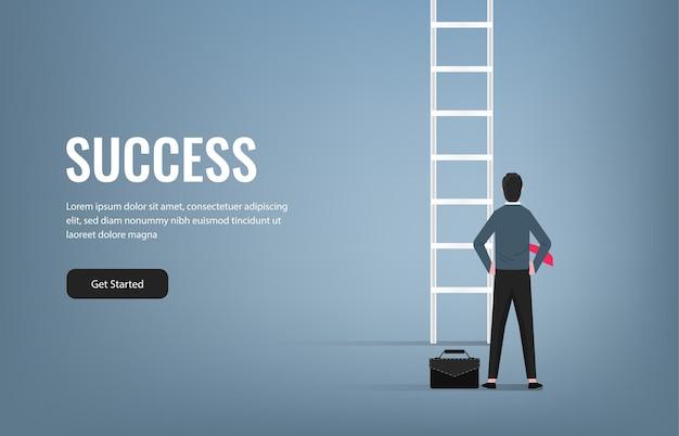 はしごのイラストの前に立っている成功した実業家。ビジネスとキャリアのシンボルでの成功。