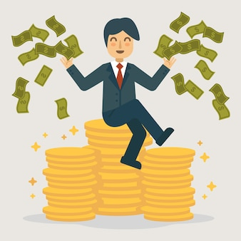Successful businessman throwing money illustration.