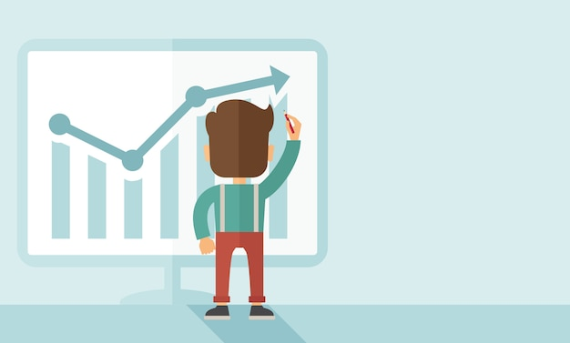 Successful businessman with a chart going up