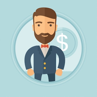 Successful businessman with dollar coin.