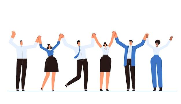 Успешные бизнесмены вместе держатся за руки. работа в команде и концепция совместной работы. отдельный на белом фоне.