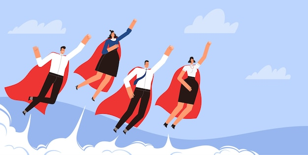 Successful businessmen superheroes fly in the sky in red cloaks.