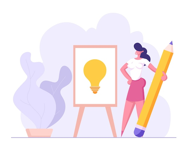 Successful businesswoman draw light bulb with pencil illustration