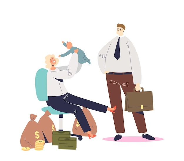 Successful businesswoman mother happy together with kid sitting in office chair. choosing between career and parenting concept. cartoon flat illustration