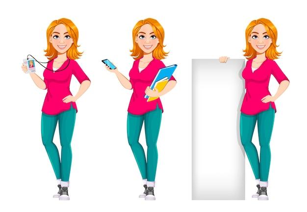 Успешная деловая женщина набор из трех поз симпатичная деловая женщина мультипликационный персонаж