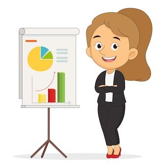 Успешный бизнес-леди, показывая отчет о прогрессе