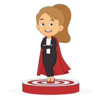 Successful businesswoman standing on the winner podium
