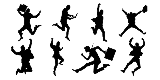 Successful and cheerful expression business man silhouettes