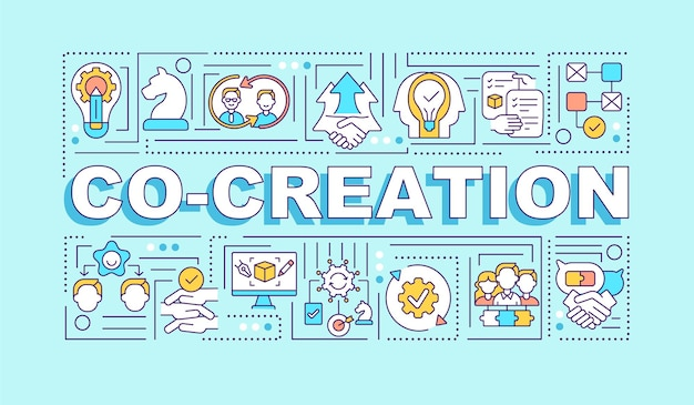 Successful collective creativity word concepts banner. joint work. infographics with linear icons on turquoise background. isolated typography.  outline rgb color illustration