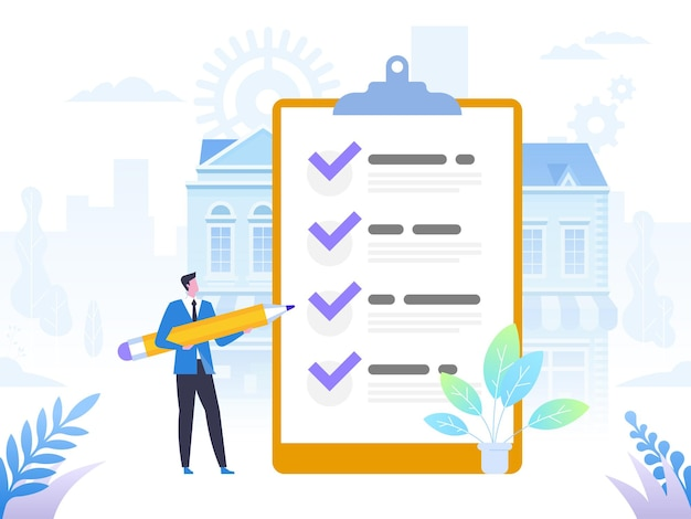 Successful completion of business tasks. positive business man with a giant pencil on his shoulder nearby marked checklist on a clipboard paper. flat