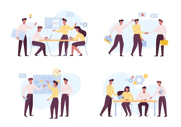 Successful coworking, teamwork flat illustrations set