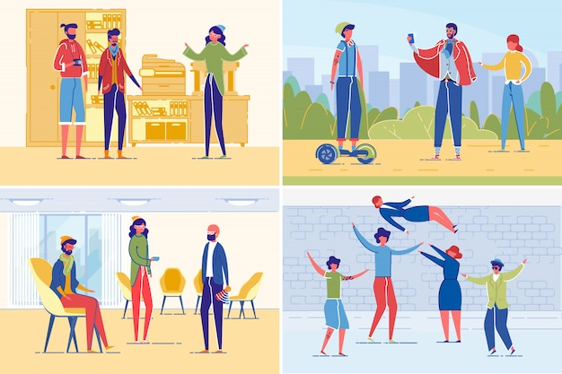 Successful creative people team working together illustration set in flat style