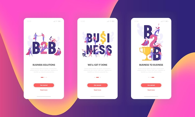 Successful creative teamwork b2b innovation business concept for mobile app screen set
