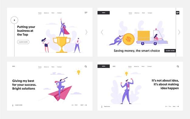 Successful economic business solutions concept for landing page set