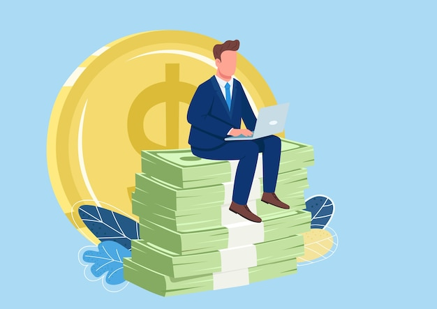 Successful employee sitting on pile of money flat concept illustration