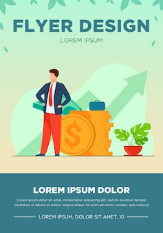 Successful entrepreneur or investor presenting stack of money and growth diagram. businessman in suit standing at cash. vector illustration for financial success, economy, trade flyer template