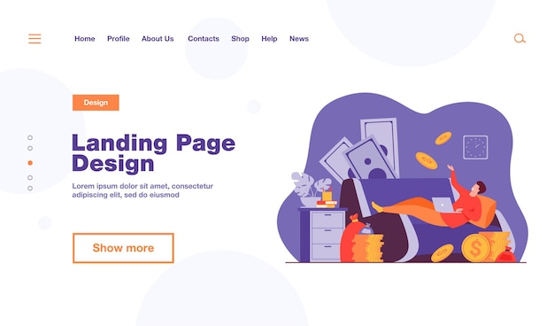 Successful freelancer on sofa with laptop and money bags landing page template