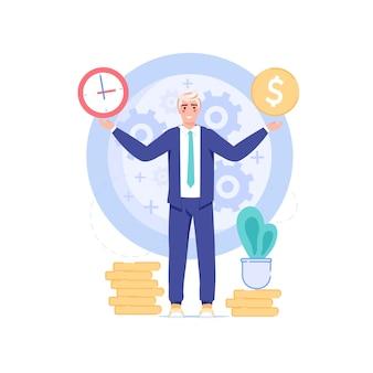 成功した幸せな従業員はすべてを制御し、すべてが時間通りに機能しますプロフェッショナルなワークフロー、時間管理
