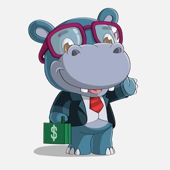Successful hippopotamus cartoons, hand drawn