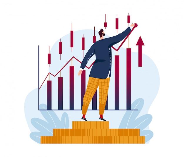 Успешный трейдер мужского характера прочитал фондовую биржу, фундаментальный анализ обменом мира изолированный на белизне, иллюстрации шаржа.