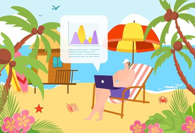熱帯の夏のビーチに座って成功した男性のフリーランサー