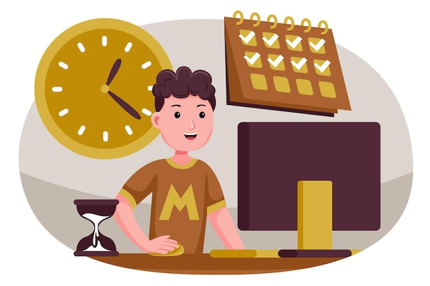 Successful man in controls tasks and time.
