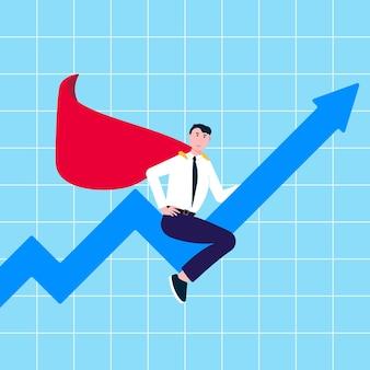 그래프 화살표에 양복과 빨간 망토를 타고 성공적인 남자 지도자 사업가