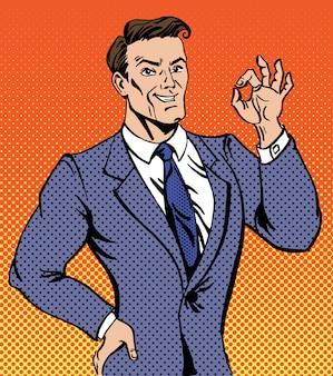 Successful man in pop art style gesturing okay