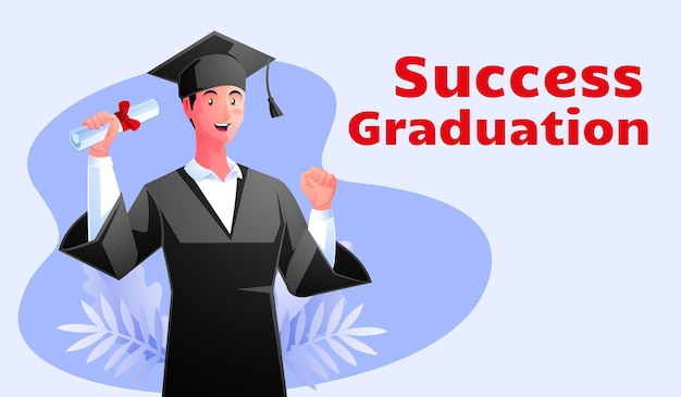 Успешные мужчины в выпускной одежде держат свою иллюстрацию диплома с текстом успешного выпускного