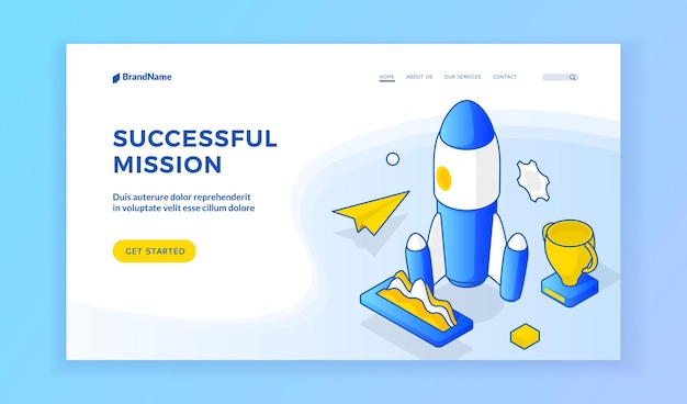 Successful mission. vector isometric illustration of rocket with trophy and paper plane on banner of successful space mission. isometric web banner, landing page template