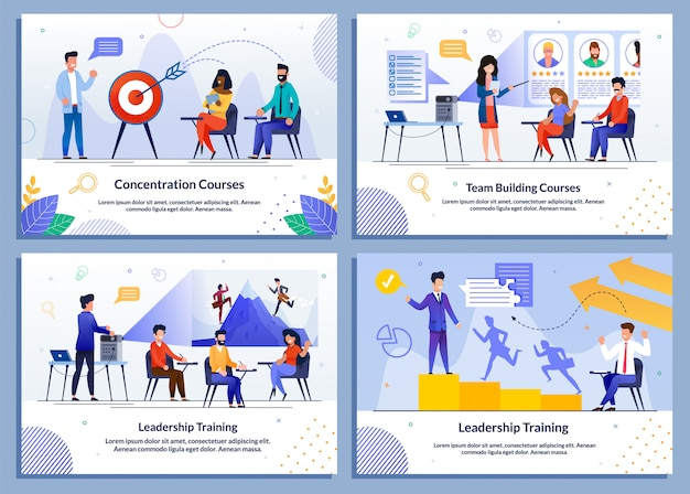 Successful motivational management illustration set