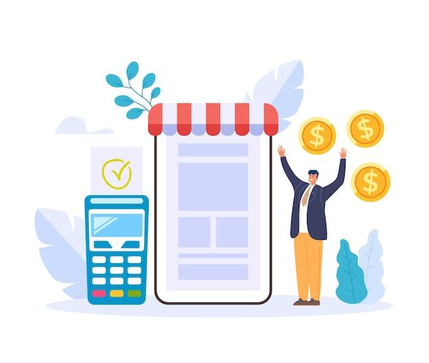 Иллюстрация концепции успешного онлайн-бизнеса Premium векторы