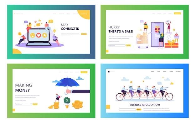 成功したオンラインビジネスチームのコンセプトランディングページセット。オンラインストアのモバイルアプリケーションでチャットして販売する人々。 financial managementwebサイトまたはwebページ。フラット漫画ベクトルイラスト