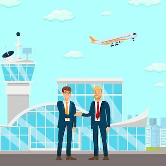 Successful partnership negotiation illustration