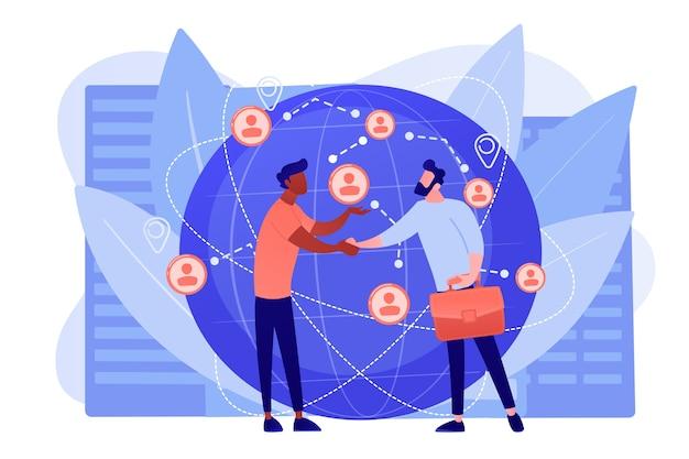 Negoziazione di partnership di successo, stretta di mano dei partner