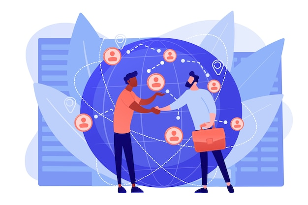 Successful partnership negotiation, partners handshaking